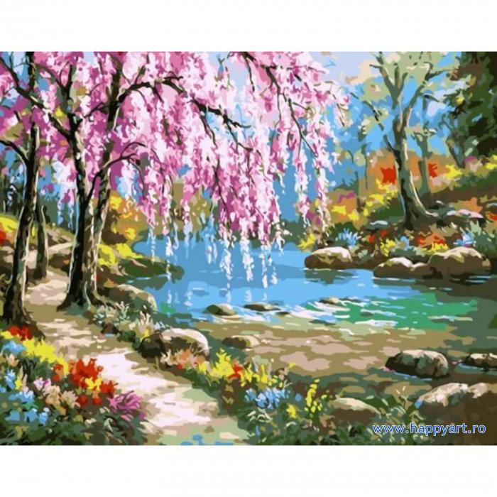 Set pictura pe numere, cu sasiu, Sakura langa Rau, 40x50 cm, 24 culori [0]