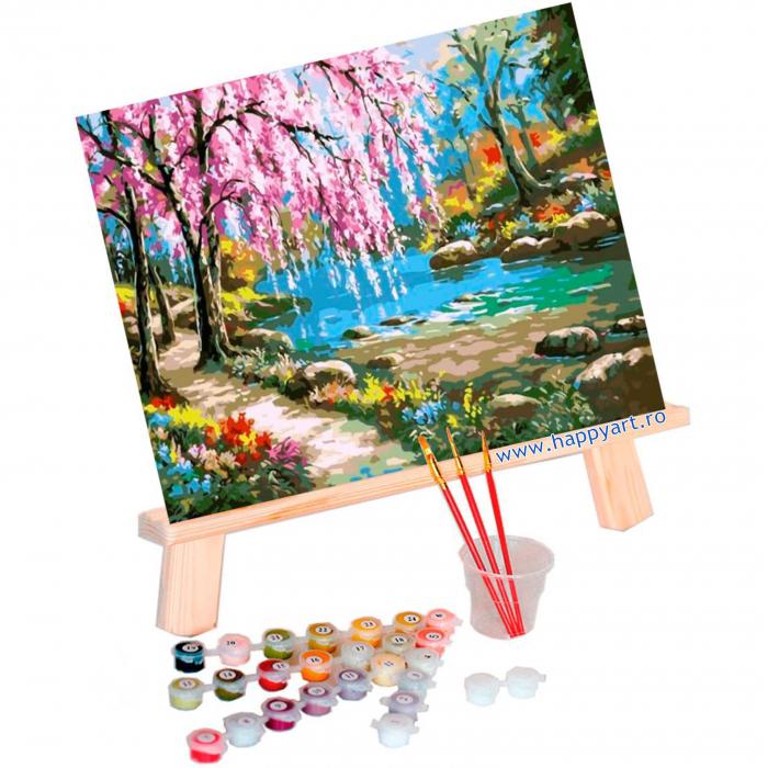 Set pictura pe numere, cu sasiu, Sakura langa Rau, 40x50 cm, 24 culori [1]