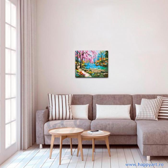 Set pictura pe numere, cu sasiu, Sakura langa Rau, 40x50 cm, 24 culori [2]