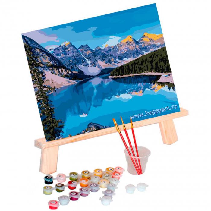 Set pictura pe numere, cu sasiu, Rau de Munte, 40x50 cm, 24 culori [1]