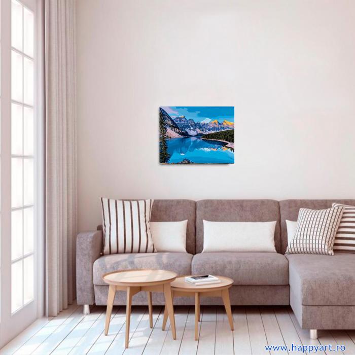 Set pictura pe numere, cu sasiu, Rau de Munte, 40x50 cm, 24 culori [2]