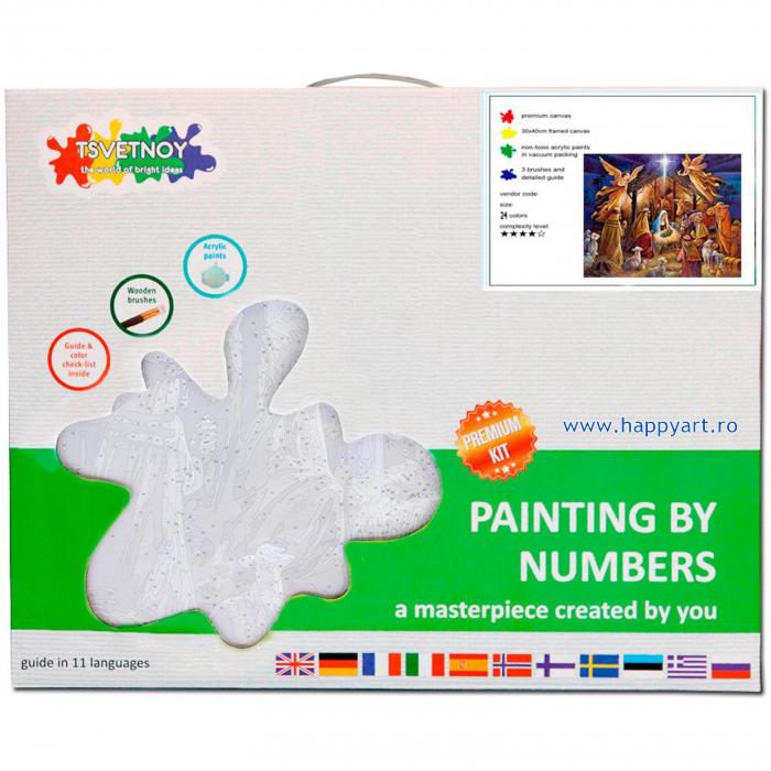 Set pictura pe numere, cu sasiu, Tabloul Nasterii, 40x50 cm, 24 culori [3]