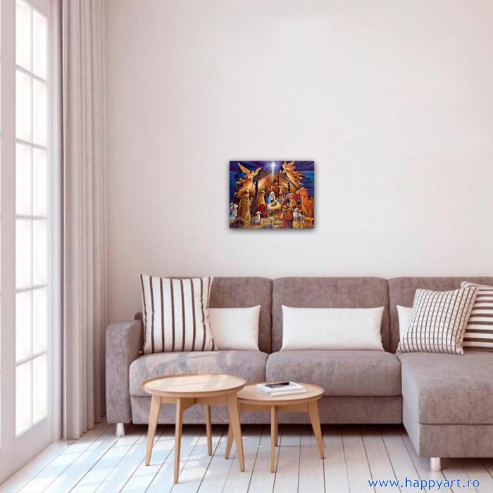 Set pictura pe numere, cu sasiu, Tabloul Nasterii, 40x50 cm, 24 culori [2]