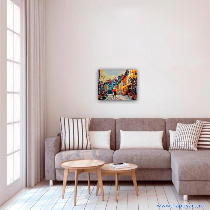 Set pictura pe numere, cu sasiu, Oras European, 40x50 cm, 24 culori [2]