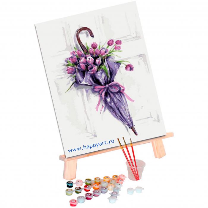 Set pictura pe numere, cu sasiu, Umbrela de Flori, 30x40 cm, 22 culori [1]