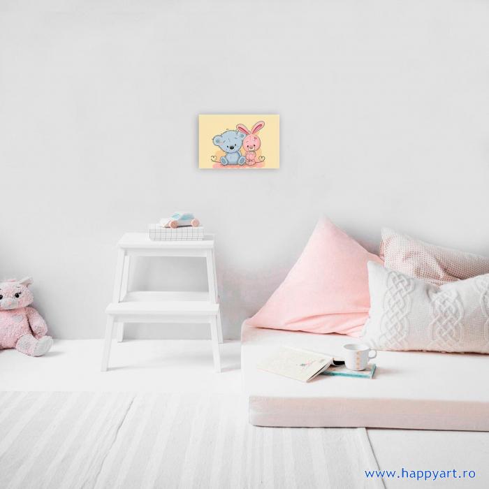 Set pictura pe numere, cu sasiu, Micul Ursulet si Micul Iepuras, 20x30 cm, 19 culori [2]