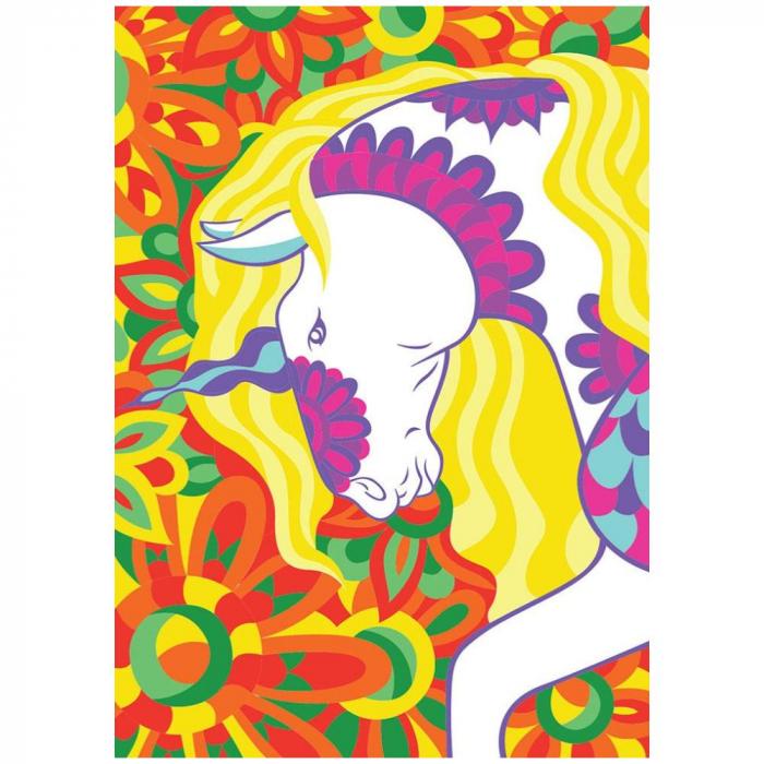Unicorn, Set creativ, pictura cu nisip colorat, 1 plansa 23,5 x 33 cm, 22 tuburi nisip multicolor, 1 penseta, 1 folie protectie, pentru 10 – 99 ani 2