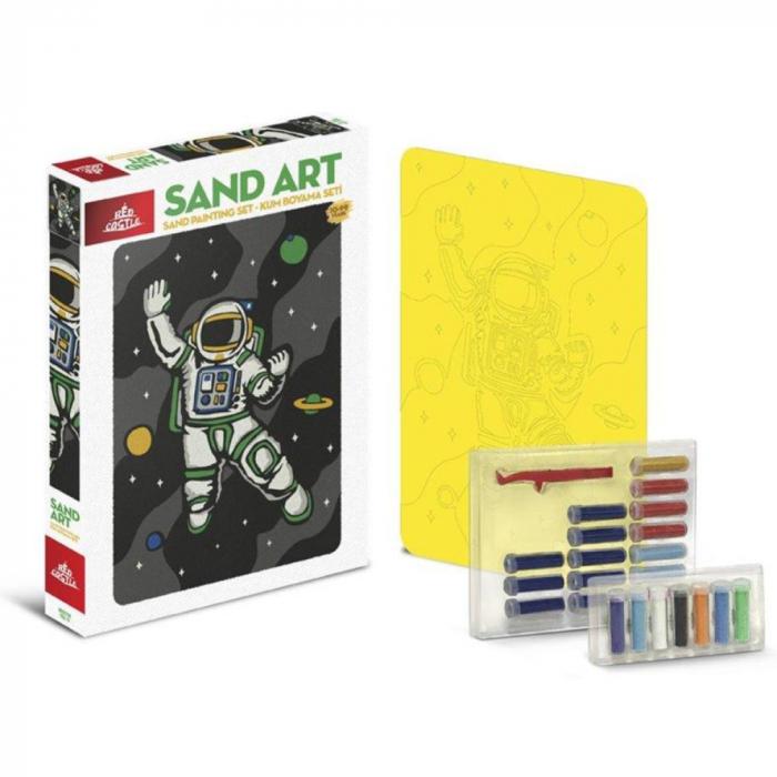 Cosmonaut, Set creativ, pictura cu nisip colorat, 1 plansa 23,5 x 33 cm, 22 tuburi nisip multicolor, 1 penseta, 1 folie protectie, pentru 10 – 99 ani 1