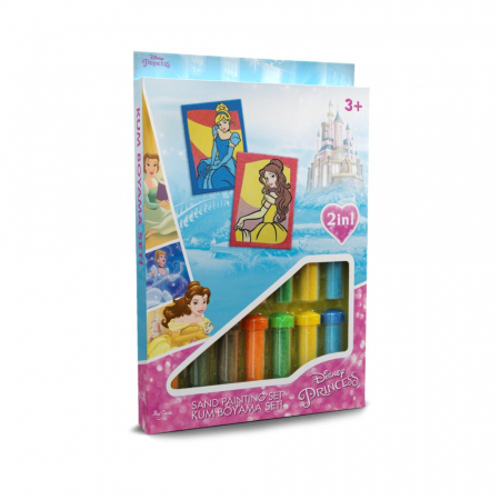 Printesele Disney Belle & Cenusareasa, Set creativ pictura cu nisip colorat, 2 planse 16,5 x 23,5 cm, 15 tuburi nisip multicolor, 1 penseta, 2 folii protectie, + 3 ani0