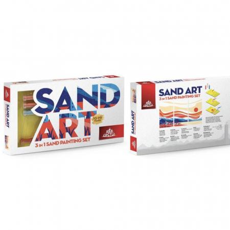 Apus de Soare, Set creativ, pictura cu nisip colorat, 3 planse 18 x 32 cm, 22 tuburi nisip multicolor, 1 penseta, 3 folii protectie, pentru 10 – 99 ani2
