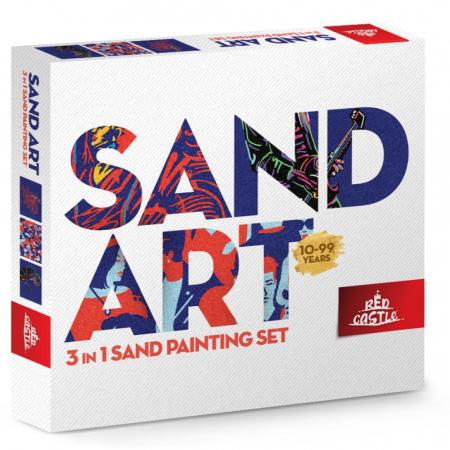 Balerina, Chitarist, Oameni, Set creativ, pictura cu nisip colorat, 3 planse 22 x 23 cm, 22 tuburi nisip multicolor, 1 penseta, 3 folii protectie, pentru 10 – 99 ani0