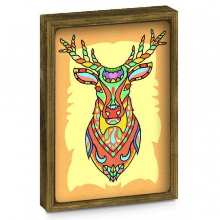 Bufnita, Cerb, Set creativ, pictura cu nisip colorat, 2 planse 23,5 x 33 cm, 2 rame, 30 tuburi nisip multicolor, 2 pensete, 2 folii protectie, pentru 10 – 99 ani2