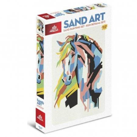 CALUL CUBIC, Set creativ, pictura cu nisip colorat, 1 plansa 23,5 x 33 cm, 22 tuburi nisip multicolor, 1 penseta, 1 folie protectie, pentru 10 – 99 ani0