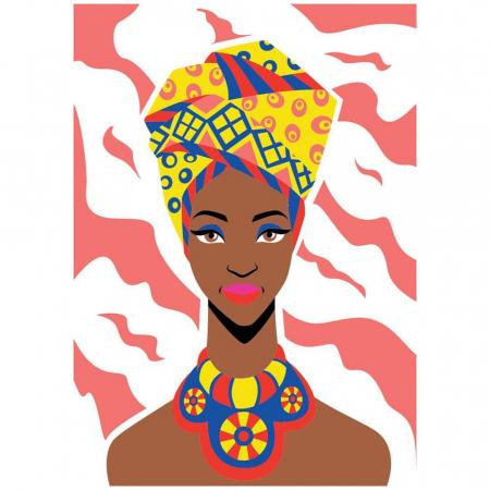 COPILA AFRICANA, Set creativ, pictura cu nisip colorat, 1 plansa 23,5 x 33 cm, 22 tuburi nisip multicolor, 1 penseta, 1 folie protectie, pentru 10 – 99 ani2