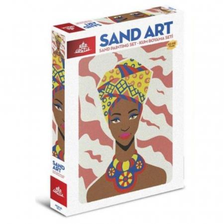 COPILA AFRICANA, Set creativ, pictura cu nisip colorat, 1 plansa 23,5 x 33 cm, 22 tuburi nisip multicolor, 1 penseta, 1 folie protectie, pentru 10 – 99 ani0
