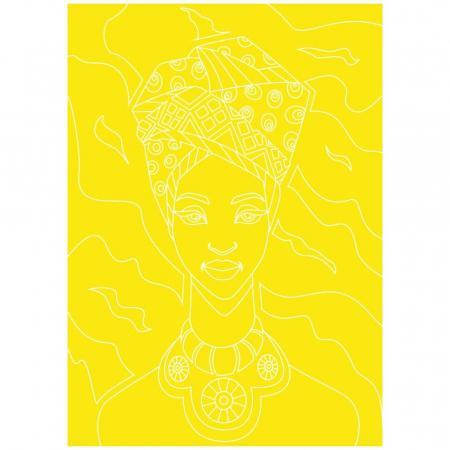 COPILA AFRICANA, Set creativ, pictura cu nisip colorat, 1 plansa 23,5 x 33 cm, 22 tuburi nisip multicolor, 1 penseta, 1 folie protectie, pentru 10 – 99 ani3