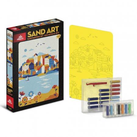 ORASUL DE PE LAC, Set creativ, pictura cu nisip colorat, 1 plansa 23,5 x 33 cm, 22 tuburi nisip multicolor, 1 penseta, 1 folie protectie, pentru 10 – 99 ani1
