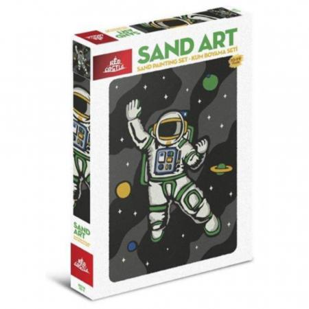 COSMONAUT, Set creativ, pictura cu nisip colorat, 1 plansa 23,5 x 33 cm, 22 tuburi nisip multicolor, 1 penseta, 1 folie protectie, pentru 10 – 99 ani0
