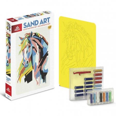 CALUL CUBIC, Set creativ, pictura cu nisip colorat, 1 plansa 23,5 x 33 cm, 22 tuburi nisip multicolor, 1 penseta, 1 folie protectie, pentru 10 – 99 ani1