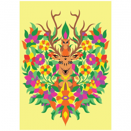 Domnul CERB & Doamna BUFNITA, Set creativ, pictura cu nisip colorat, 1 plansa 23,5 x 33 cm, 22 tuburi nisip multicolor, 1 penseta, 1 folie protectie, pentru 10 – 99 ani2