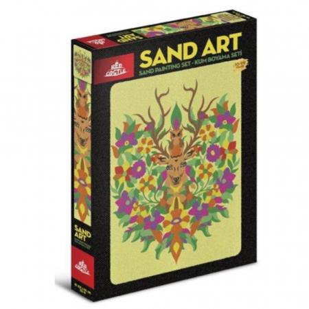 Domnul CERB & Doamna BUFNITA, Set creativ, pictura cu nisip colorat, 1 plansa 23,5 x 33 cm, 22 tuburi nisip multicolor, 1 penseta, 1 folie protectie, pentru 10 – 99 ani0