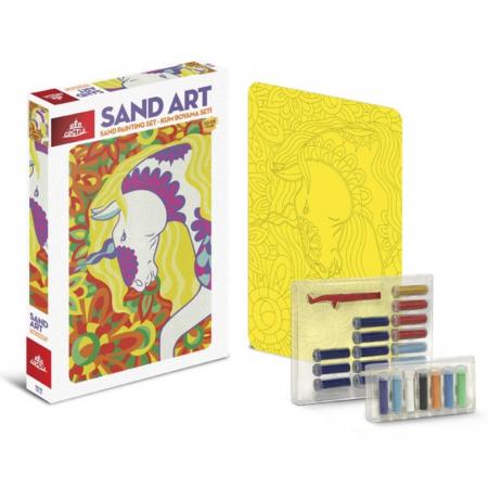UNICORN, Set creativ, pictura cu nisip colorat, 1 plansa 23,5 x 33 cm, 22 tuburi nisip multicolor, 1 penseta, 1 folie protectie, pentru 10 – 99 ani1