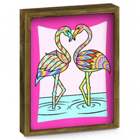 Fluture, Flamingo, Set creativ, pictura cu nisip colorat, 2 planse 23,5 x 33 cm, 2 rame,  30 tuburi nisip multicolor, 2 pensete, 2 folii protectie, pentru 10 – 99 ani2