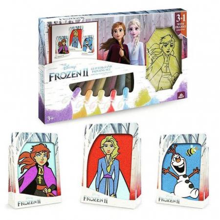 Frozen II – Elsa & Anna & Olaf, Disney, Set creativ pictura cu nisip colorat, 1 plansa 14,8x21 cm, 2 planse 10,5x14,8 cm, 3 rame carton, 16 tuburi nisip multicolor, 1 penseta, 3 folii, + 3ani9