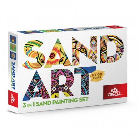 Leu, Elefant, Maimuta, Set creativ, pictura cu nisip colorat, 3 planse 23,5 x 33 cm, 45 tuburi nisip multicolor, 3 pensete, 3 folii protectie, pentru 10 – 99 ani0