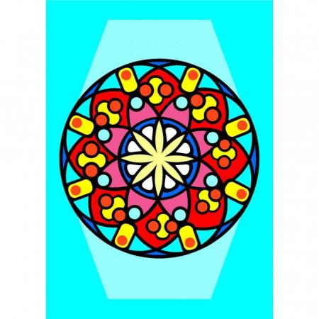 MANDALA, Set creativ Pictura cu nisip colorat, 1 plansa 21 x 29,7 cm, 10 plicuri nisip multicolor, 1 betisor, 1 folie protectie, + 3 ani0