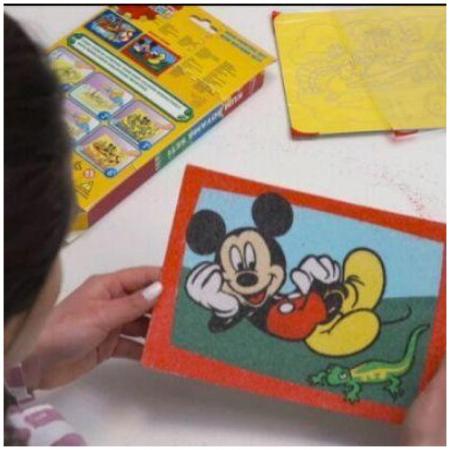 Mickey Mouse, Disney, Set creativ pictura cu nisip colorat, 2 planse 16,5 x 23,5 cm, 15 tuburi nisip multicolor, 1 penseta, 2 folii protectie, + 3 ani9
