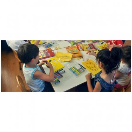 LEU, Set creativ Pictura cu nisip colorat, 1 plansa 21 x 29,7 cm, 10 plicuri nisip multicolor, 1 betisor, 1 folie protectie, + 3 ani3