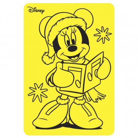 Minnie Mouse Santa, Disney, Set creativ Pictura cu nisip colorat, 1 plansa 21 x 29,7 cm, 10 plicuri nisip multicolor, 1 betisor, 1 folie protectie, + 3 ani1