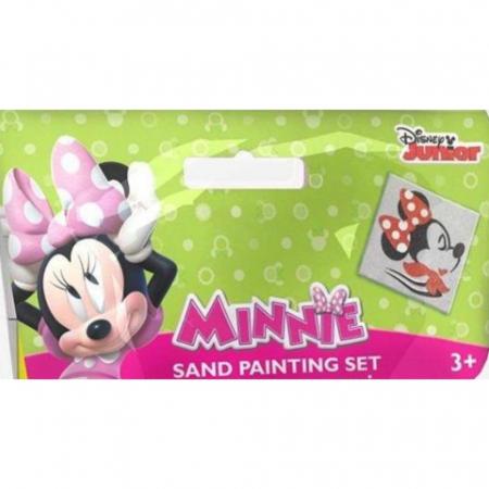 Minnie Mouse, Disney, Set creativ pictura cu nisip colorat, 1 plansa 11 x 11 cm, 6 tuburi nisip multicolor, 1 penseta, 1 folie protectie, + 3 ani1