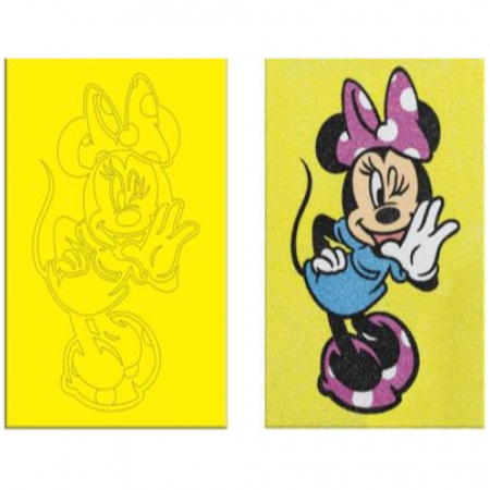 Minnie Mouse, Disney, Set creativ pictura cu nisip colorat, 1 plansa 16,5 x 23,5 cm, 8 tuburi nisip multicolor, 1 penseta, 1 folie protectie, + 3 ani3