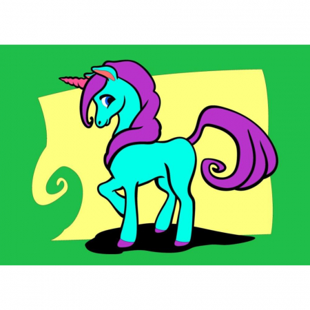 Unicorn, Set creativ Pictura cu nisip colorat, 1 plansa 21 x 29,7 cm, 10 plicuri nisip multicolor, 1 betisor, 1 folie protectie, + 3 ani0