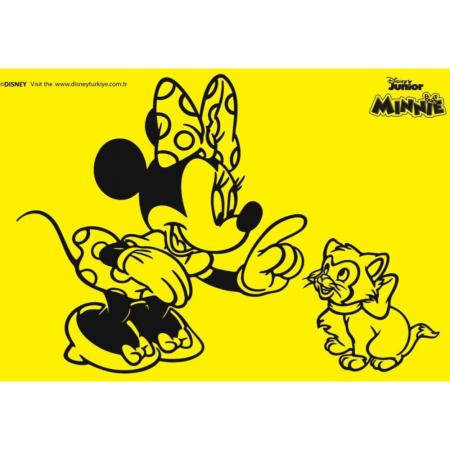 Minnie Mouse & Figaro, Disney, Set creativ Pictura cu nisip colorat, 1 plansa 21 x 29,7 cm, 10 plicuri nisip multicolor, 1 betisor, 1 folie protectie, + 3 ani1