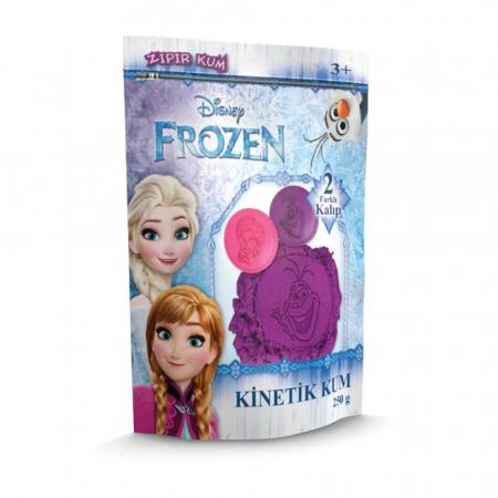 Frozen, Disney, Nisip kinetic, 250 g, mov, 2 forme imagini Elsa si Olaf, + 3 ani1