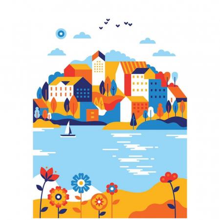 ORASUL DE PE LAC, Set creativ, pictura cu nisip colorat, 1 plansa 23,5 x 33 cm, 22 tuburi nisip multicolor, 1 penseta, 1 folie protectie, pentru 10 – 99 ani2