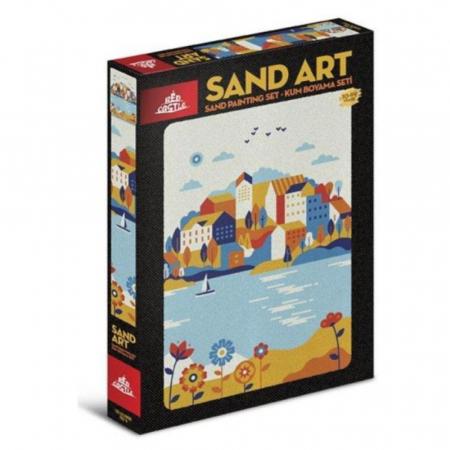 ORASUL DE PE LAC, Set creativ, pictura cu nisip colorat, 1 plansa 23,5 x 33 cm, 22 tuburi nisip multicolor, 1 penseta, 1 folie protectie, pentru 10 – 99 ani0