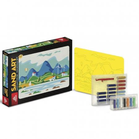 VACANTA DE VARA, Set creativ, pictura cu nisip colorat, 1 plansa 23,5 x 33 cm, 22 tuburi nisip multicolor, 1 penseta, 1 folie protectie, pentru 10 – 99 ani1