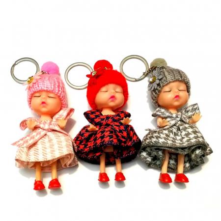 PAPUSA Breloc cu caciulita roz, rosu, gri, set 3 buc0