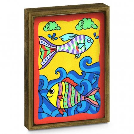 Pesti, Cameleon, Set creativ, pictura cu nisip colorat, 2 planse 23,5 x 33 cm, 2 rame,  30 tuburi nisip multicolor, 2 pensete, 2 folii protectie, pentru 10 – 99 ani1