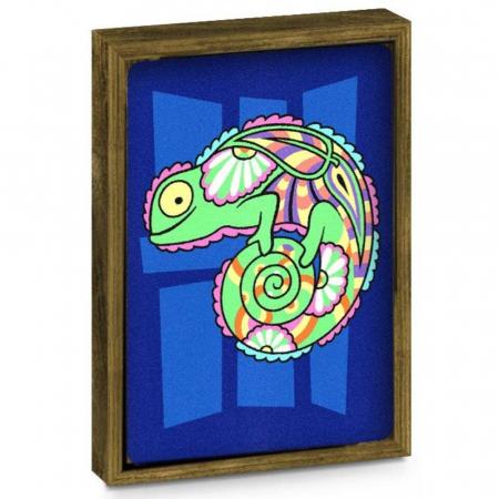 Pesti, Cameleon, Set creativ, pictura cu nisip colorat, 2 planse 23,5 x 33 cm, 2 rame,  30 tuburi nisip multicolor, 2 pensete, 2 folii protectie, pentru 10 – 99 ani2