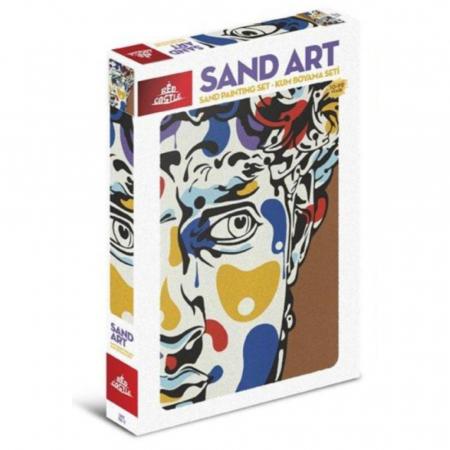 PORTRET, Set creativ, pictura cu nisip colorat, 1 plansa 23,5 x 33 cm, 22 tuburi nisip multicolor, 1 penseta, 1 folie protectie, pentru 10 – 99 ani0