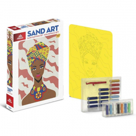 COPILA AFRICANA, Set creativ, pictura cu nisip colorat, 1 plansa 23,5 x 33 cm, 22 tuburi nisip multicolor, 1 penseta, 1 folie protectie, pentru 10 – 99 ani1