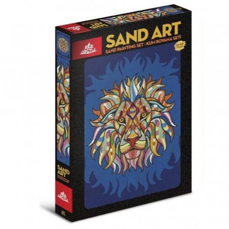 RACNETUL LEULUI, Set creativ, pictura cu nisip colorat, 1 plansa 23,5 x 33 cm, 22 tuburi nisip multicolor, 1 penseta, 1 folie protectie, pentru 10 – 99 ani0