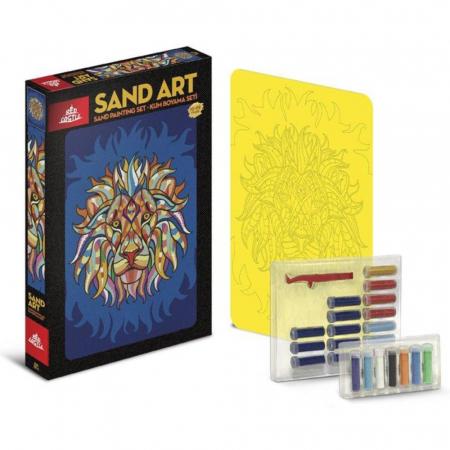 RACNETUL LEULUI, Set creativ, pictura cu nisip colorat, 1 plansa 23,5 x 33 cm, 22 tuburi nisip multicolor, 1 penseta, 1 folie protectie, pentru 10 – 99 ani2