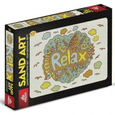 RELAX, Set creativ, pictura cu nisip colorat, 1 plansa 23,5 x 33 cm, 22 tuburi nisip multicolor, 1 penseta, 1 folie protectie, pentru 10 – 99 ani0