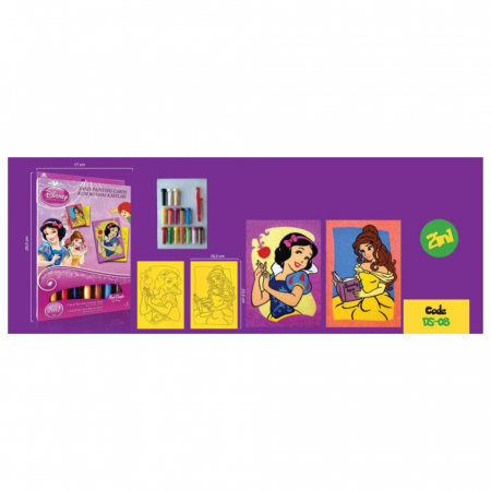 Alba ca Zapada & Belle, Disney, Set creativ pictura cu nisip colorat, 2 planse 16,5 x 23,5 cm, 15 tuburi nisip multicolor, 1 penseta, 2 folii protectie, + 3 ani3